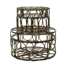 Black And Tan Oval Ring Round Boxes - Set Of 2