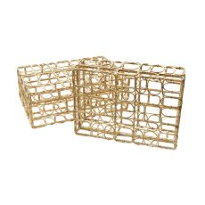 Washed Natural Oval Ring Rectangular Boxes - Set Of 2