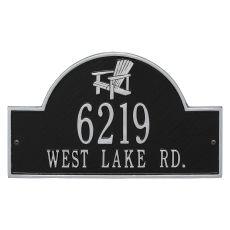 Personalized Adirondack Arch Address Plaque, Black / Silver