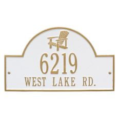Personalized Adirondack Arch Plaque, White / Gold