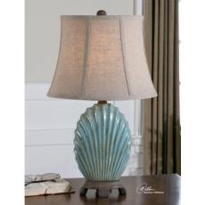 Seashell Lamp with Crackled Blue Glaze Finish