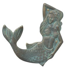 Mermaid Towel Hook (Left), Bronze Verdigris