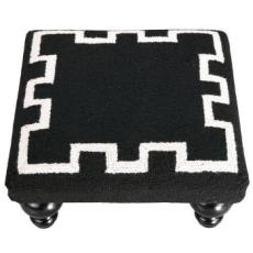 Greek Key Footstool -Black
