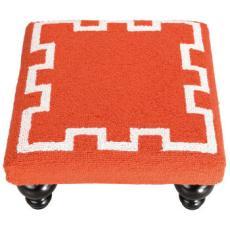 Greek Key Footstool -Orange