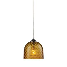 Viva 1 Light Pendant In Polished Chrome And Amber Glass