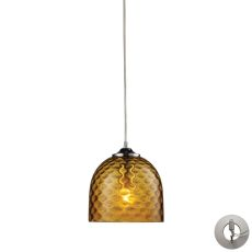 Viva 1 Light Pendant In Polished Chrome And Amber Glass - Includes Recessed Lighting Kit