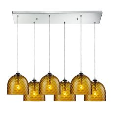 Viva 6 Light Pendant In Polished Chrome And Amber Glass