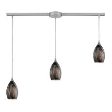Formations 3 Led Light Pendant In Satin Nickel And Ashflow Glass