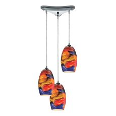 Surrealist 3 Led Light Pendant In Polished Chrome And Multicolor Glass