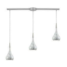 Lindsey 3 Light Linear Bar Fixture In Satin Nickel With Marble Print Shade