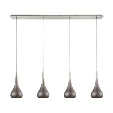 Lindsey 4 Light Linear Pan Fixture In Satin Nickel With Weathered Zinc Shade