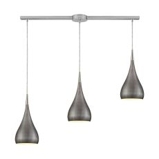 Lindsey 3 Light Linear Bar Fixture In Satin Nickel With Weathered Zinc Shade