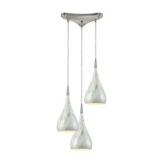 Lindsey 3 Light Triangle Pan Fixture In Satin Nickel With Marble Print Shade