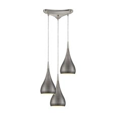 Lindsey 3 Light Triangle Pan Fixture In Satin Nickel With Weathered Zinc Shade