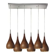 Lindsey 6 Light Pendant In Burl Wood And Satin Nickel