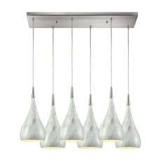 Lindsey 6 Light Rectangle Fixture In Satin Nickel With Marble Print Shade