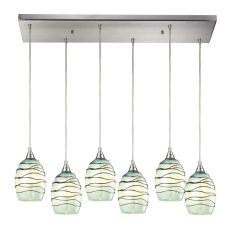 Vines 6 Led Light Pendant In Satin Nickel And Mint Glass