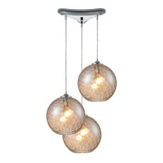 Watersphere 3 Light Pendant In Polished Chrome And Champagne Glass