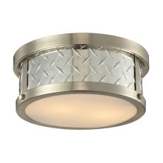 Diamond Plate 2 Light Flushmount In Brushed Nickel
