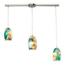 Surreal 3 Led Light Pendant In Satin Nickel With Cream And Green Glass
