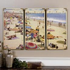 Summertime Beach, Painting  Wall Art S/3