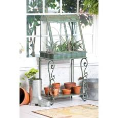 Antique Verdi Green Terrarium with Stand