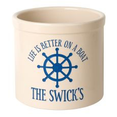 Personalized Life Is Better On A Boat Crock, Bristol Crock With Dark Blue Etching