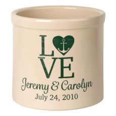 Personalized Love Anchor Crock, Bristol Crock With Green Etching