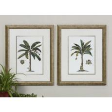 Palm and Crest Framed Art  S/2