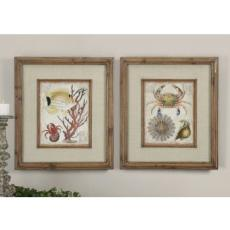 Tropical Waters Framed Art  S/2