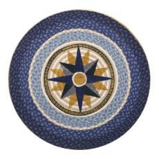 Compass Blue Round  Rug