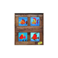 A School Of Funky Fish Framed Tiles