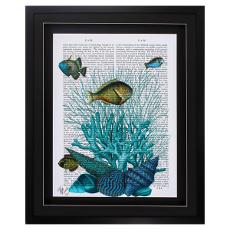 Fish Blue Shells Corals Framed Art