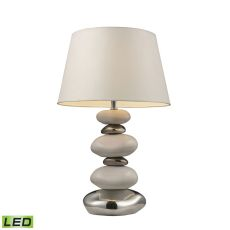 "Mary-Kate And Ashley 23"" Elemis Led Table Lamp In White And Chrome"