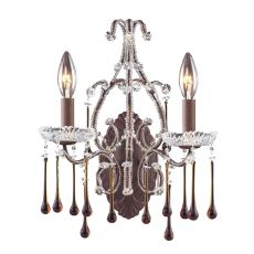 Opulence 2 Light Wall Sconce In Rust And Amber Crystal