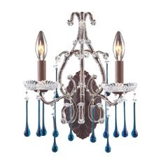 Opulence 2 Light Wall Sconce In Rust And Aqua Crystal
