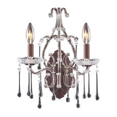 Opulence 2 Light Wall Sconce In Rust And Clear Crystal