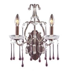 Opulence 2 Light Wall Sconce In Rust And Rose Crystal