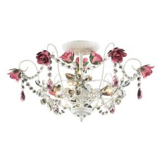 Rosavita 3 Light Semi Flush In Antique White And Pink