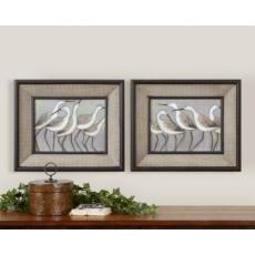 Shore Birds I, II, Framed Art Prints (set of 2)