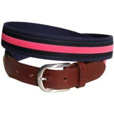 Classic Pink Stripe On Navy Leather Tab Belt
