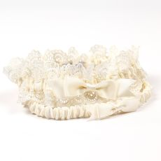 Eleanor Lace Wedding Garter In Ivory