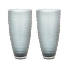 Smoke Matte Cut Vases - Set Of 2