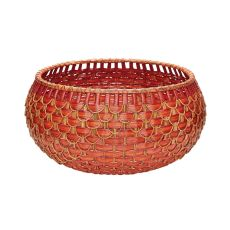 Large Fish Scale Basket In Red And Orange