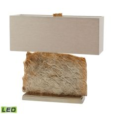 Slate Slab Led Table Lamp In Gold With Natural Linen Shade