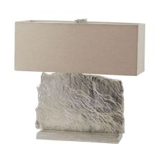Slate Slab Table Lamp In Nickel With Natural Linen Shade