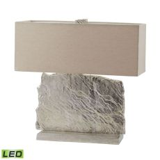 Slate Slab Led Table Lamp In Nickel With Natural Linen Shade