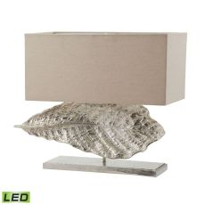 Wide Leaf Led Table Lamp In Nickel With Natural Linen Shade