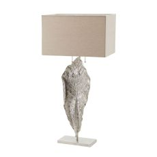 Tall Leaf Table Lamp In Nickel With Natural Linen Shade