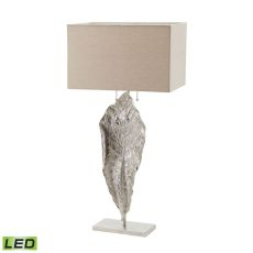 Tall Leaf Led Table Lamp In Nickel With Natural Linen Shade
